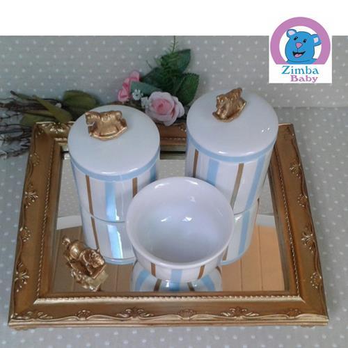 Kit Higiene - Cavalinho Listra - Bandeja com Espelho - 6535EB