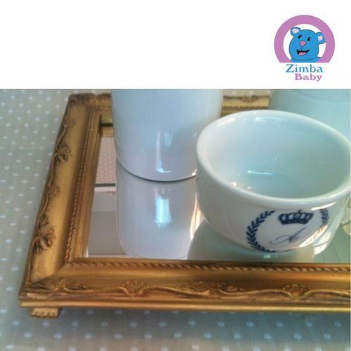 Kit Higiene - Monograma Azul com Bandeja e Espelho -  3C2599