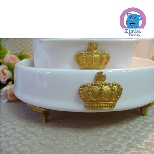 kit Higiene - Cerâmica Bandeja Redonda - Coroa Dourada - 34912E