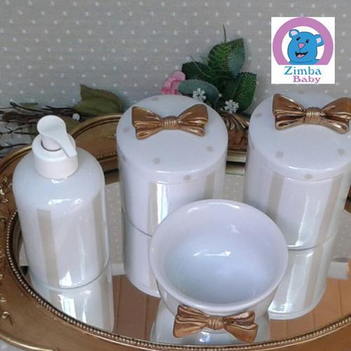 Kit Higiene - Listra Laço Dourado - Bandeja Espelho - 6535FD