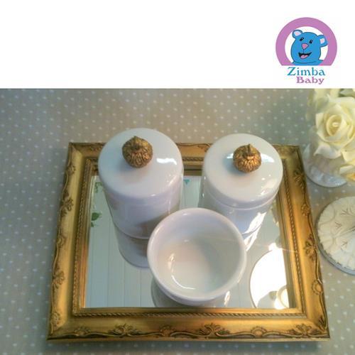 Kit Higiene - Coroa Branco Liso com Bandeja e Espelho - 3C2520