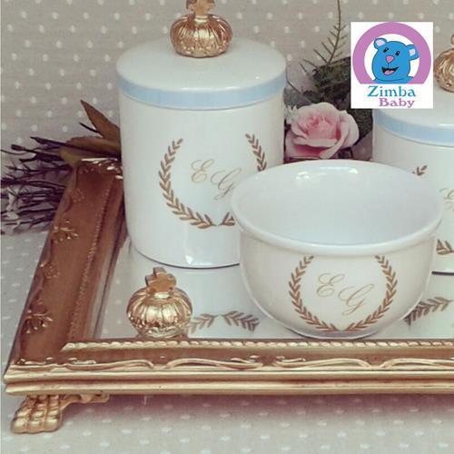 Kit Higiene - Iniciais Coroa Dourada com Espelho - 6573CC