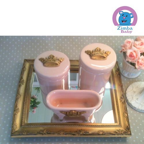 Kit Higiene - Coroa Rosa com Bandeja e Espelho -  3C2590