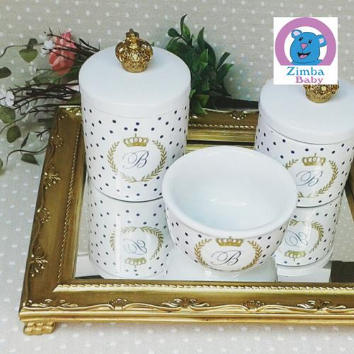 Kit Higiene - Cerâmica Iniciais Coroa Branco com Espelho - 64A09D