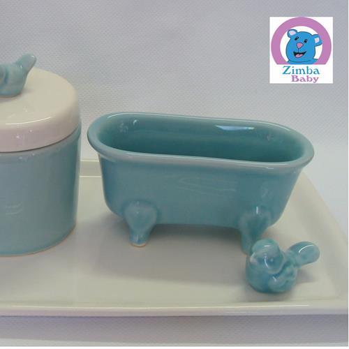 Kit Higiene - Bandeja em Porcelana - Branco com Azul Passarinho - 30A576