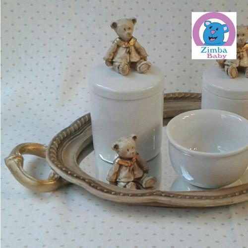 Kit Higiene - Urso Bandeja de Resina com Espelho - 646DCF