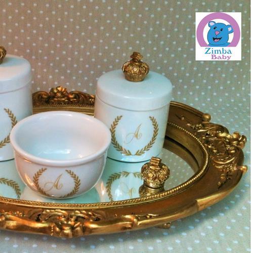 Kit Higiene - Monograma Dourado com Bandeja e Espelho - 3DBC5D
